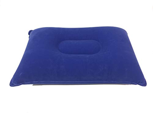 Inflatable Rectangle Travel Camping Support Pillow Lightweight Compact Soft Cover – Navy Blue