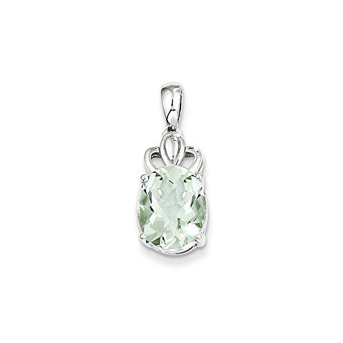 FB Jewels Solid 925 Sterling Silver Green Quartz Pendant