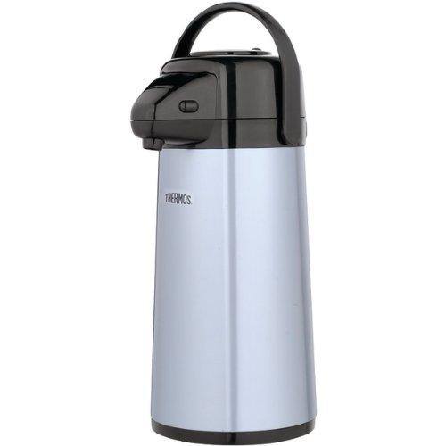 Coffee Pump Pots - Thermos Glass Vacuum Insulated 2 Quart Pump Pot, Metallic Gray