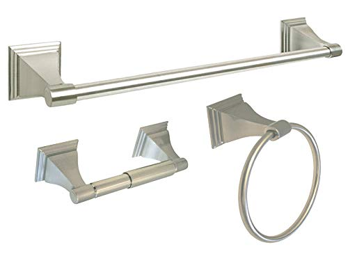 Glob Shop Satin Nickel Bathroom Accessories Hardware 3 PC Combo 18'' Towel Bar Hook Holder