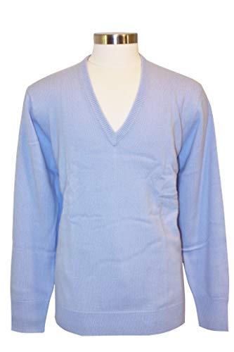 Shephe Men's V Neck Cashmere Sweater Sky Blue ()