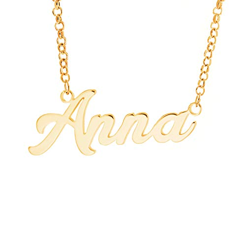 Personalized English Name Necklace Pendant Yellow Gold Plated Over Brass, Gift To Her ()