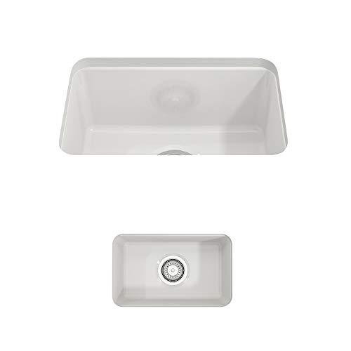 (BOCCHI 1358-001-0120 Sotto Undermount Fireclay 12 in. Single Bowl Kitchen Sink with Strainer in White,)