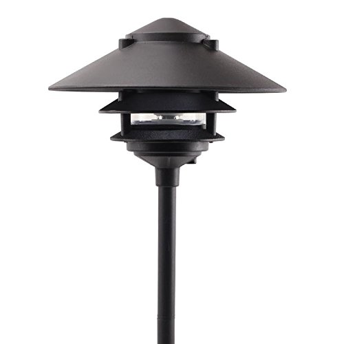 Cast Aluminum 3-Tier Large Top Pagoda Area Light - PAT-LT3R (Black) ()