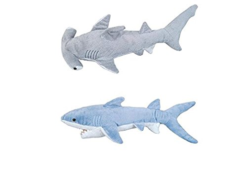 Adventure Planet - Set of 2 Plush SHARKS Mako and Hammerhead Shark - Stuffed Animal -Ocean Life - Soft Cuddly Shark Week Tank Toy,  20in. and 19in. set]()