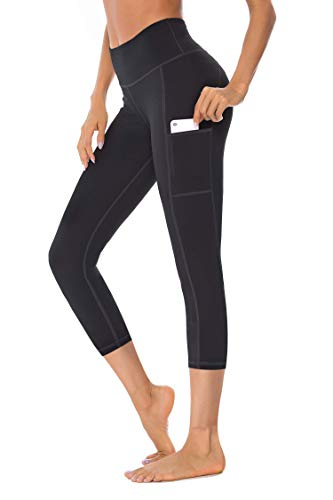 Gnpolo Womens Black Capri Leggings Workout Yoga Pants with Pockets High Waisted Sports Tights