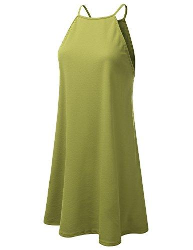 Dress Halter Doublju Neck Women sage Plus Awdsd0758 Square Neck Size Swing 6XEE5rBqn