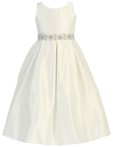 Price comparison product image AkiDress Sleeveless Simple Satin Pearl Beaded Communion Dress For Big Girl Ivory 8