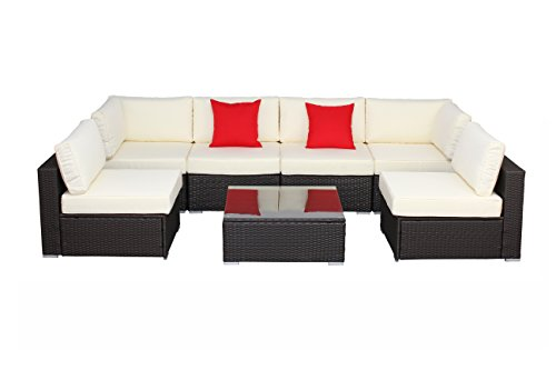 Do4U 7 Pieces Outdoor Patio PE Rattan Wicker Sofa Furniture Set(Expresso-6004)