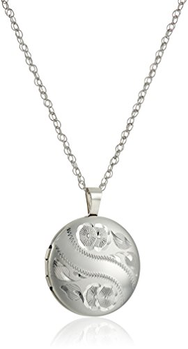 Sterling Silver Round Locket (Sterling Silver Hand Engraved Floral Round Locket Necklace,)