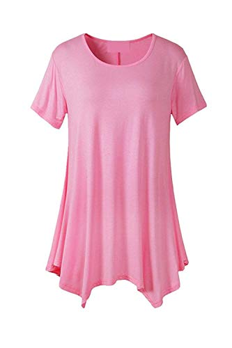 Shirt Branch Fille Tshirt Irrgulier Elgante Et Femme Tee Manche Pink Top Col Courtes Style Uni Rond Manches Classique Casual Tops Bouffant Moderne Mode FaqHx1wdx