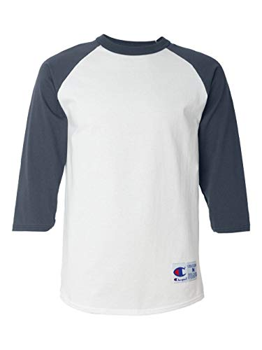 Champion Men's Raglan Baseball T-Shirt, White/Navy, Medium
