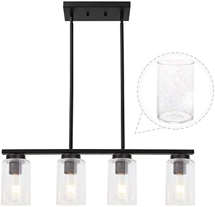 TODOLUZ 4-Light Black Kitchen Pendant Light Fixture