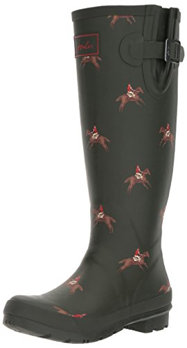 Joules Women's Welly Print Rain Boot, Olive Horse Rider, ...