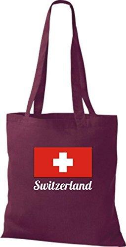ShirtInStyle Bolso de tela Bolsa de algodón Yute de país Suiza Suiza - fucsia, 38 cm x 42 cm Burdeos