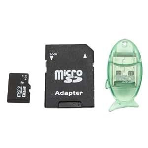 Flying Colourz Tarjeta TF de 4GB con adaptador de tarjeta SD + lector de tarjeta con forma de pez transparente verde