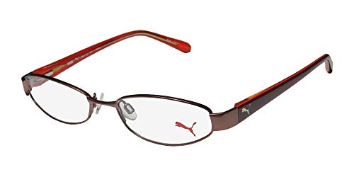 Puma 15357 Pico Mens/Womens Cat Eye Spring Hinges Classic Shape Durable TIGHT-FIT Designed For Jogging/Cycling/Sports Activities Eyeglasses/Eyeglass Frame (50-16-135, Brown/Amber) (Cats Eye Brille)