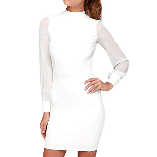Hip Jupe Femmes Blanc Robes en Sexy Dos Mode Solid Soie Longues Couleur sans Robe Honestyi Manches Mousseline Full Tablier Manches Robe Une de Mesh 1xwC5qgS