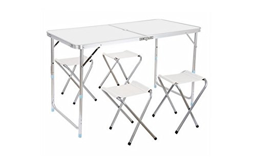 Portable Durable Folding Table Stool Set for BBQ Picnic Dining Party In/Outdoor (Long Narrow Outdoor Dining Table)