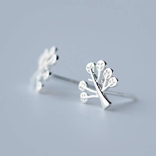 HCBYJ earring S925 Sterling Silver Ladies Fashion Cute Small 8mm X 8mm Tree Earrings