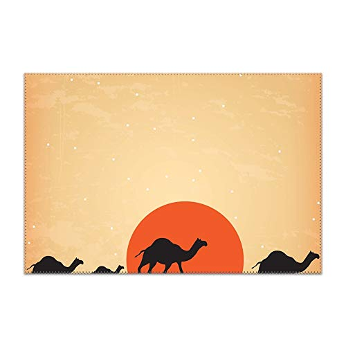 - HHNYL Placemats Non-Slip Insulation Camel with Sunset Placemat Washable Table Mats Set of 6 (6pcs placemats, Multicolors)