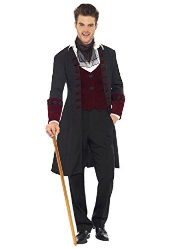Costumes For Men Uk (Smiffy's Men's Fever Gothic Vamp Costume, Coat, Mock Waistcoat and Cravat, Halloween, Fever, Size M, 21323)