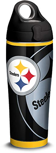 Tervis 1305181 NFL Pittsburgh Steelers Rush Stainless Steel Insulated Tumbler with Black with Gray Lid, 24oz Water Bottle, Silver