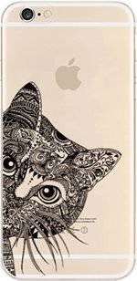 (Deco Fairy TPU Ultra Slim Translucent Silicone Clear Protective Case Cover for iPhone 6 - Aztec Cat )