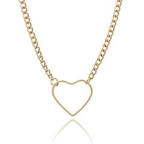 MINGHUA Love Heart Charm Choker Necklaces Twist Chain Collar Necklace for Girls Gift (Gold)