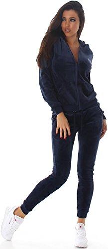 Tuta Scuro Blu E Allenamento Tempo Il Velluto Da 40 Jela Per Libero Donna Pezzi Casa Con taglie Giacca 2 36 Pantaloni 38 Effetto 34 London Jogging 4w5wSq