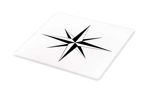 Lunarable Vintage Nautical Tattoo Cutting Board, Simplistic Illustration of a Windrose Maritime Themed Star Print, Decorative Tempered Glass Cutting and Serving Board, Small Size, Black White