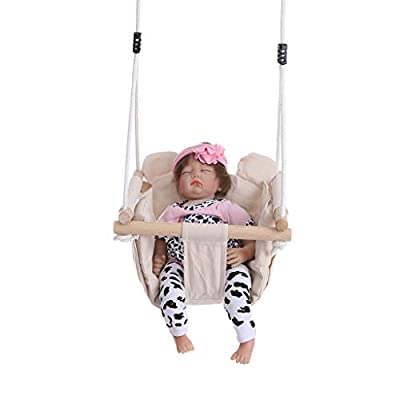 Lanhui Children's Swing Adjustable Indoor Outdoor Baby Toddler Canvas Swing Hanging Seat with Cushion 15.7in×15.7in×47.2in: Beauty