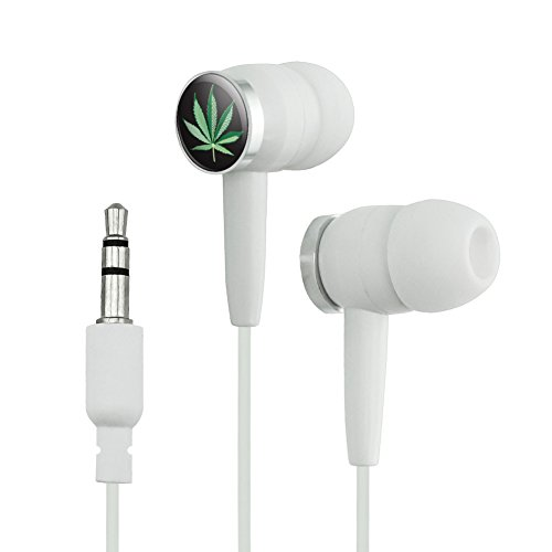 Marijuana Pot Weed Leaf Bud Ganja Green Mary Jane on Black Novelty in-Ear Earbud Headphones - White - Mary Jane Leaf Pot