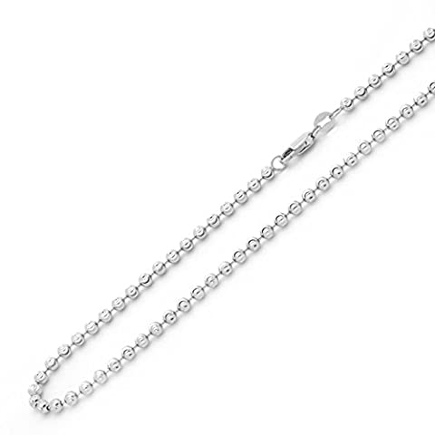 14K White Gold Chain 3mm Ball Chain Necklace (20-24 Inches), 24