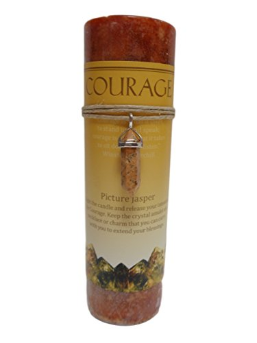 Picture Jasper Crystal Energy Pillar Candle and Pendant Stone for Courage (Brown Crystal Photo)