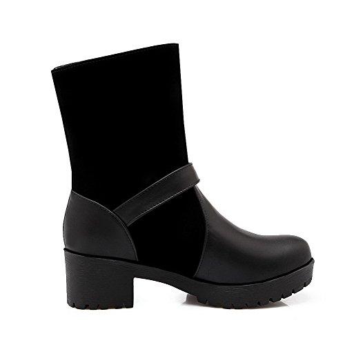 AmoonyFashion Womens Solid Kitten-Heels Round Closed Toe Blend Materials Pull-On Boots Black u9iQ3