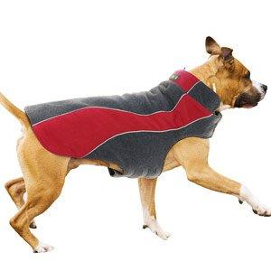 Kakadu Pet Explorer Fleece Reflective Dog Coat, 22″, Flame (Red), My Pet Supplies