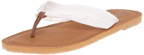 Polo Ralph Lauren Kids Poplin W Eyelet Fashion Flip Flop Sandal (Little Kid/Big Kid), White, 13 M US Little Kid