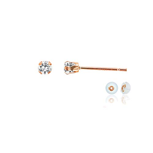 (14K Rose Gold 3mm Round Created White Sapphire Stud Earring with Silicone Back)