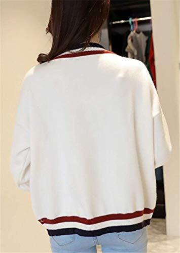 Cappotto Unico Maglia A Elegante neck Libero Ragazza Maglieria Tempo Breasted Di Pullover Stripe Beige Single Donna Autunno Manica Chic Moda V Lunga Giacca HXpww