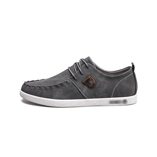 Chaussures Cuir Mode LYZGF Grey Étudiants Casual Jeunes En Hommes Dentelle Y8qwBR