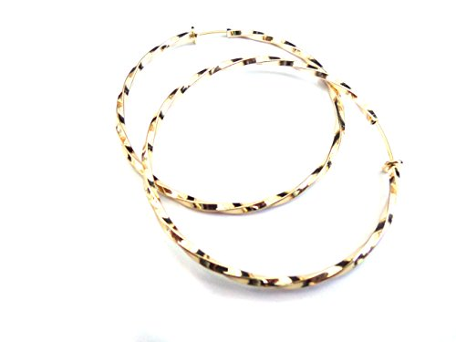 Clip-on Earrings Gold Tone Twisted Hoops 2.25 inch Hoop - Gold Tone Twisted Earrings
