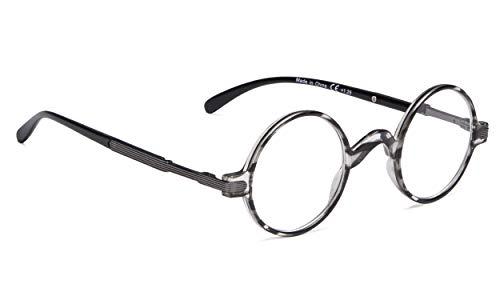 Vintage Round Reading Glasses Professor Readers (Grey Stripe, 1.00) ()