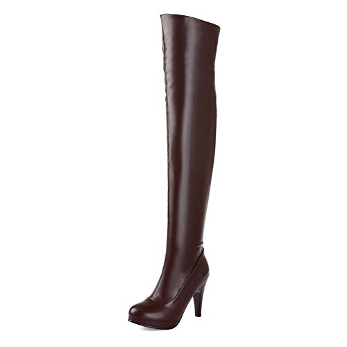 AgooLar Women's Solid PU High-Heels Zipper Closed Round Toe Boots Brown E1XXYaOHKB