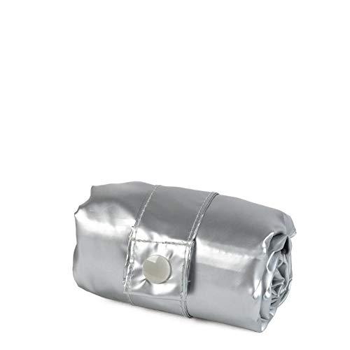 Plateado 50 cm LOQI LOQI Metallic Silver//Rose Gold Duo Bag Bolso de Viaje Silver//Duo
