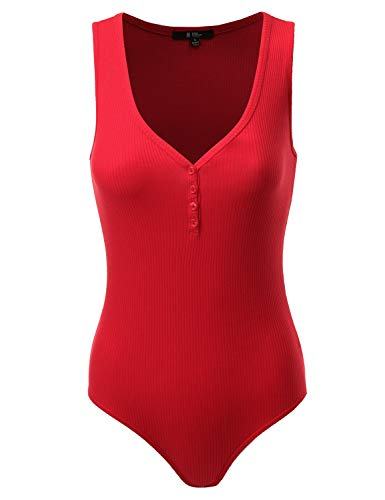 Fifth Parallel Threads FPT Ribbed V-Neck Henley Bodysuit BRIGHTRED - Red Womens Ribbed Soft