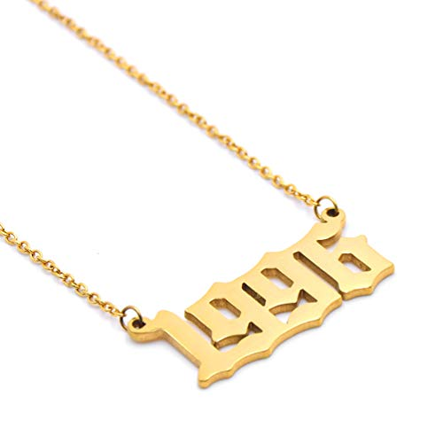 Birth Year Necklace for Women and Girls Birthday Gift Charm Friendship Jewelry 18k Gold Pendant Year 1996