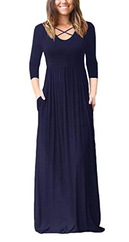 (Women's Casual Maxi Dress with Pockets 3/4 Sleeve Criss Cross Flowy V Neck Long Dresses Navy Blue Small)