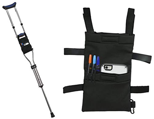 Crutch Bag Pouch - Accessory Tote for Crutches Provides Easy Hands-Free Access with Crutch Handle Covers Included for Men or Women - Black Color and Lightweight Design