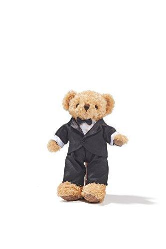"Groom Teddy Bear in Tuxedo Wedding Stuffed Animal Soft Plush Toy 12"" (light brown, black)"